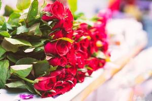 närbild av röda rosor