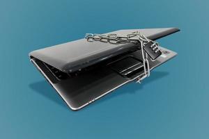 bärbar dator med kedjor foto