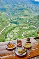 frukost risfält terrass fält Filippinerna foto