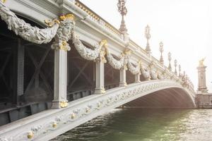 bro (pont alexandre iii) över floden seine, paris, frankrike.