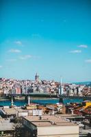stadsbild av modern megalopolis mot blå himmel foto