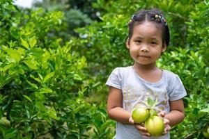 gröna färska limefrukter i barnets hand foto