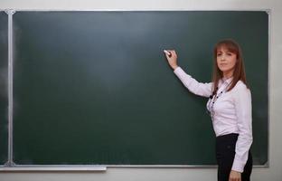 tillbaka till skolan. porträtt av lärare med krita. foto