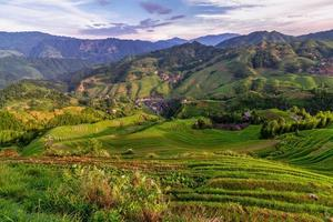 terrasserade risfält i Longsheng, Kina