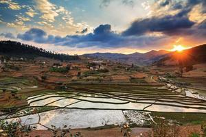 solnedgång risfält madagaskar