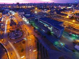 kyiv centralstation. solnedgång över staden. foto