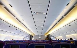 inre av ett flygplan foto