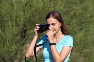 kvinna tar bild