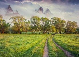 färgrik vårsoluppgång i de dimmiga bergen