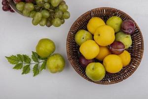 diverse frukt i en korg på neutral bakgrund