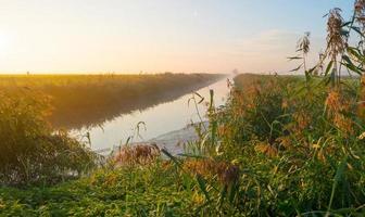 kanal genom ett disigt landskap vid soluppgången