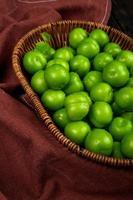 sidovy av gröna sura plommon i en korg på mörkröd tygbakgrund