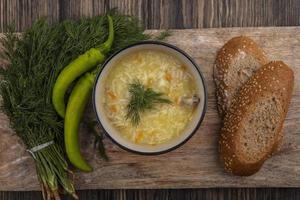 ovanifrån av kyckling orzo soppa