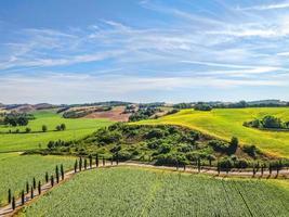 gräsbevuxna fält och en blå himmel foto