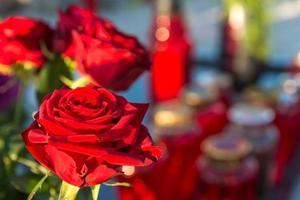 minnesdag - blommor och ljus foto
