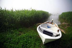 båt på en dimmig dag
