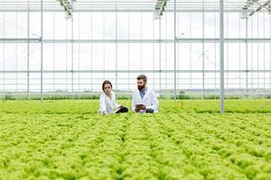 två forskare som övervakar växthuset