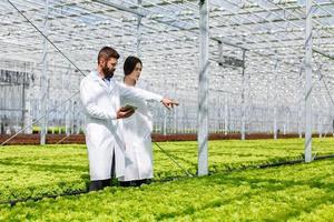 två forskare i ett grönt hus