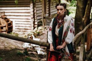 ukrainsk tjej i en broderad klänning