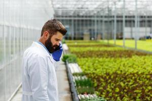 forskare pratar i telefon och går runt ett växthus