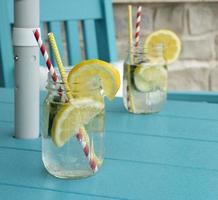 skivad citron i en kolsyrad drink