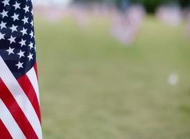 närbild av en amerikansk flagga i ett fält