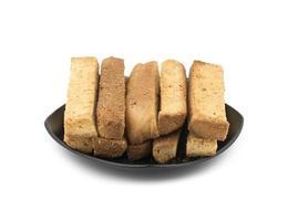 närbild av torra toastpinnar