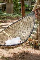 vintage stiliserad hängmatta i en trädgård foto