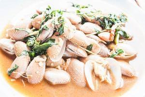 närbild av stekt musslor foto