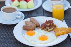 tallrik med stekt ägg, bacon och korv