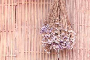 torkade blommor som hänger på en vägg foto