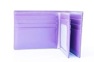 lila plånbok i läder