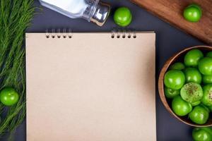 anteckningsbok med sura plommon och salt foto