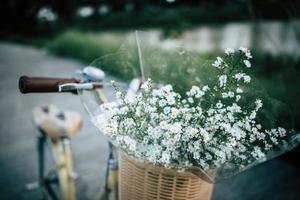 vintage cykel med en korg full av vilda blommor