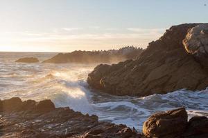 vågor som kraschar i stenar vid en strand