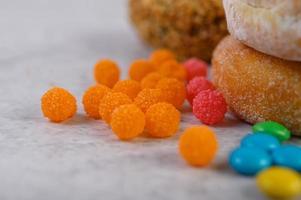 färgglada godispålägg foto
