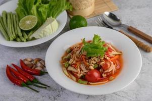 thailändsk papayasallad med ingredienser