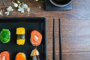 närbild av en tallrik med sushi