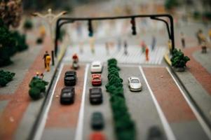 närbild av miniatyrleksaklandskap foto