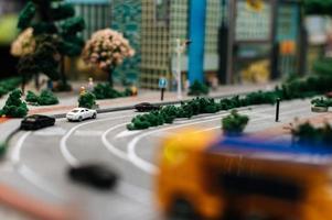 närbild av miniatyr stadslandskap foto