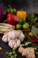 chili, lime, basilika, kaffir limeblad, aubergine, ingefära och vårlök