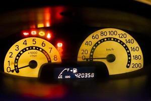 närbild av en hastighetsmätare foto