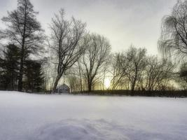 quebec, Kanada, 19 januari 2019 - en mycket kall och solig morgon. foto