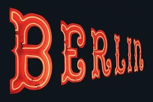 berlin, tyskland, 2020 - röd berlin neonskyltning foto