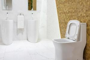 rymligt badrum med dubbla handfat foto