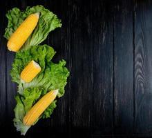 ovanifrån av hela och klippa kokta liktornar med sallad på svart bakgrund med kopieringsutrymme foto
