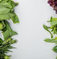 ovanifrån av grönsaker som spenat mint basilika gurka på vit bakgrund med kopia utrymme