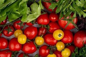 ovanifrån av grönsaker som spenatgröna mynta lämnar koriander och tomater på träbakgrund foto