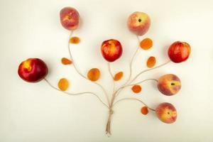 ovanifrån av persikor och gula russin med garn på vit bakgrund träd koncept