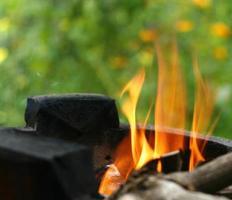 brinnande ved i het spis, thailand traditionell matlagningsstil foto